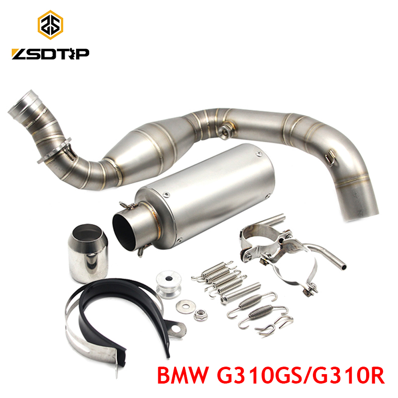 ZSDTRP G310GS Motorcycle Full Exhaust System Front Middle Link Pipe for BMW G310GS/G310R Modified Exhaust System цена