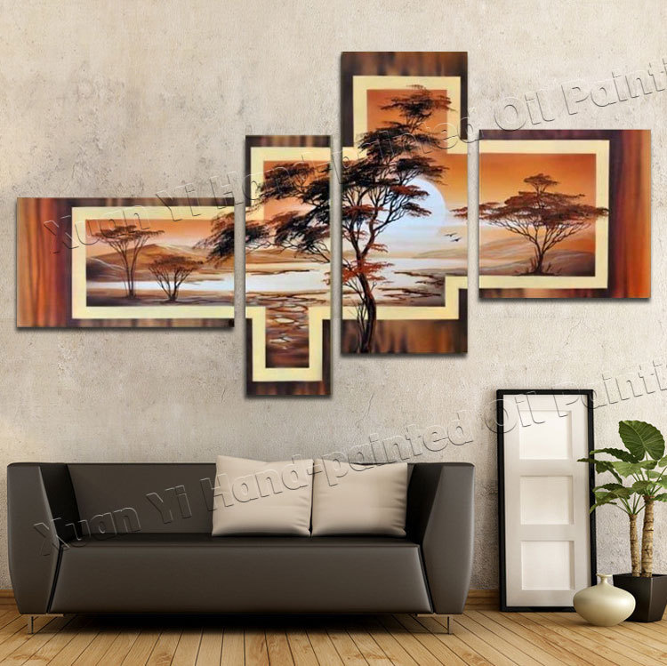 4 Panel 100% Hand-painted Wall Art Tree Elegant Mountain Forest Sunrise Home Decoration Landscape Oil Painting On Canvas