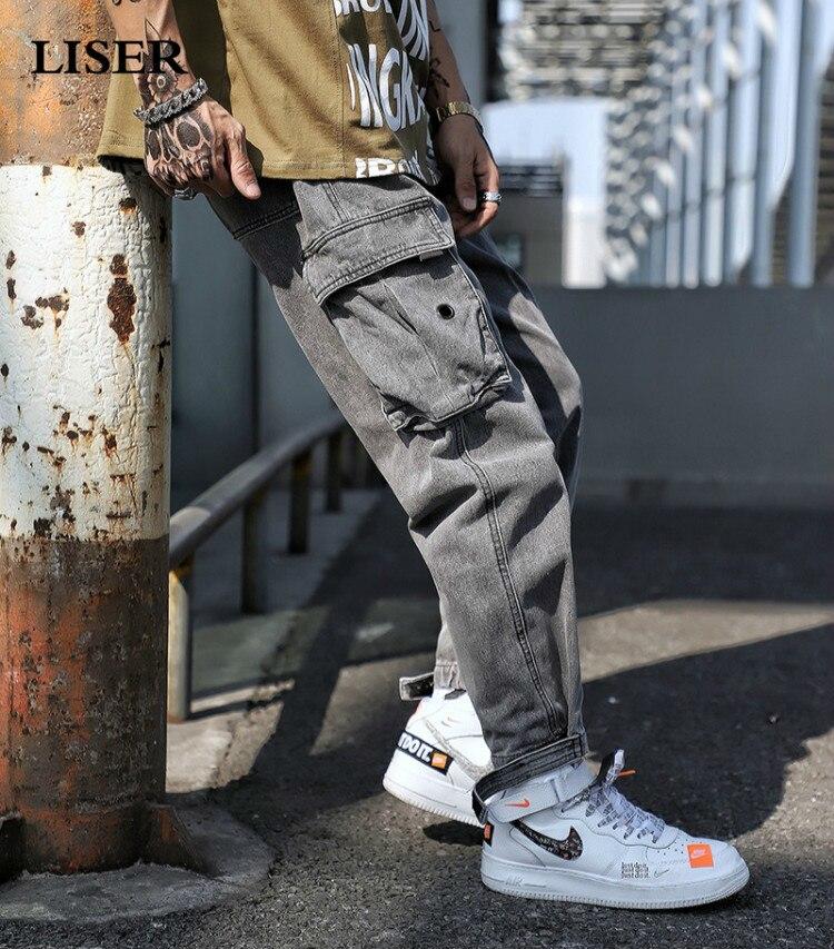 Liser 2019 Jeans Pants Men Streetwear Sweatpants Pantalones Hombre Pocket Denim Pants Men Hip Hop Mens Jeans
