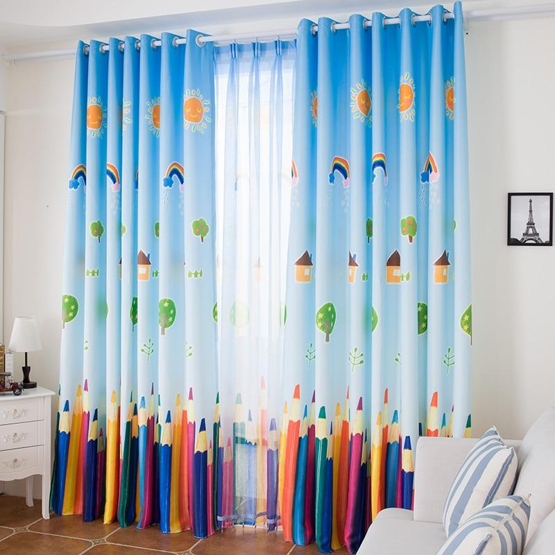 Rideaux pour enfants livraison gratuite! 2 pièces teinture réactive coloré dessin animé rideau bleu paysage belle enfants chambre rideau.