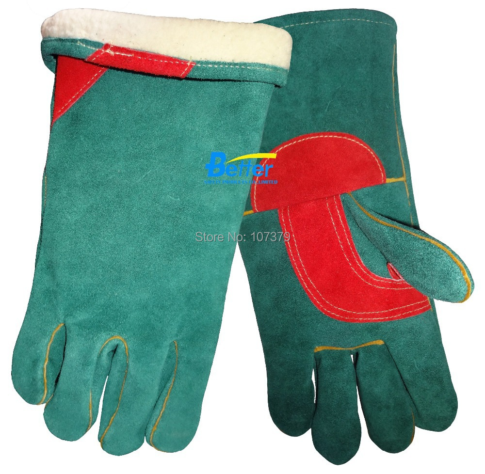 winter leather welding work glove 2 Pairs TIG MIG safety glove warm split cow leather welder glove leather combined safety glove deluxe leather work glove
