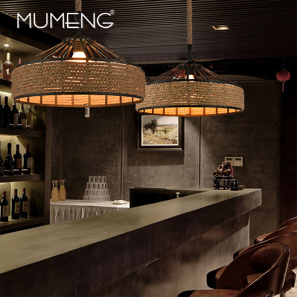 MUMENG Retro industrial hemp rope Pendant Light LED Hemp Creative Light Living Room Foyer Bar Cafe Metal America Style Lighting home improvement pneumatic air 2 way quick fittings push connector tube hose plastic 4mm 6mm 8mm 10mm 12mm pneumatic parts