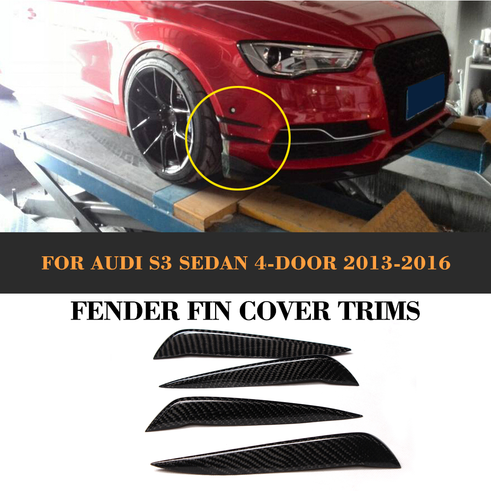 carbon fiber Car Moulding Decorative Fins Canards Front Sticker Splitter for Audi S3 Sline Sedan 4 Door 13-16 Not A3 Standard stylish strip pattern front back decorative sticker set for iphone 6 4 7 multicolored