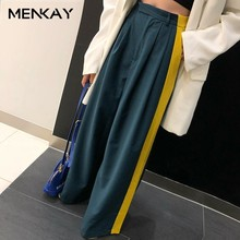 MENKAY Casuale Hit Color Long Trousers Women High Waist Big