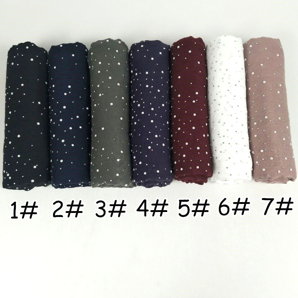 High Quality Plain Iron Beads Scarf Cotton Scarves Studs Silver Pearls Scarves Headband Wrap Muslim Scarves Shawls 180*70cm