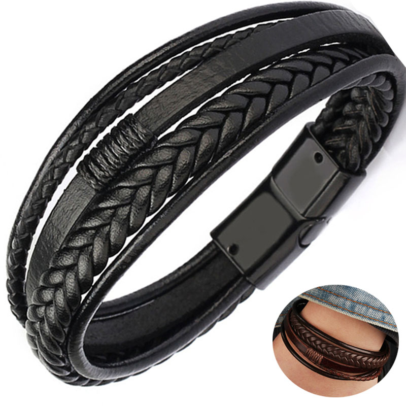 Multilayer Brown leather bracelet for men Leather bangles Magnetic-Clasp Cowhide Braided Multi-Layer Wrap Mens Bracelet