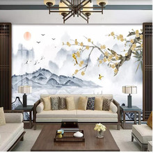 New Chinese ink landscape, eyebrow plum wall decoration painting