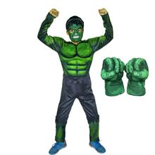 Superbohater dzieci mięśni Hulk SpiderMan Thanos Cosplay kostiumy ubrania z rękawiczkami Avengers dziecko Cosplay superbohater noworoczny prezent tanie tanio Zestawy Kombinezony i pajacyki Other(Other) Film i TELEWIZJA Unisex Materiał funkcja 8587