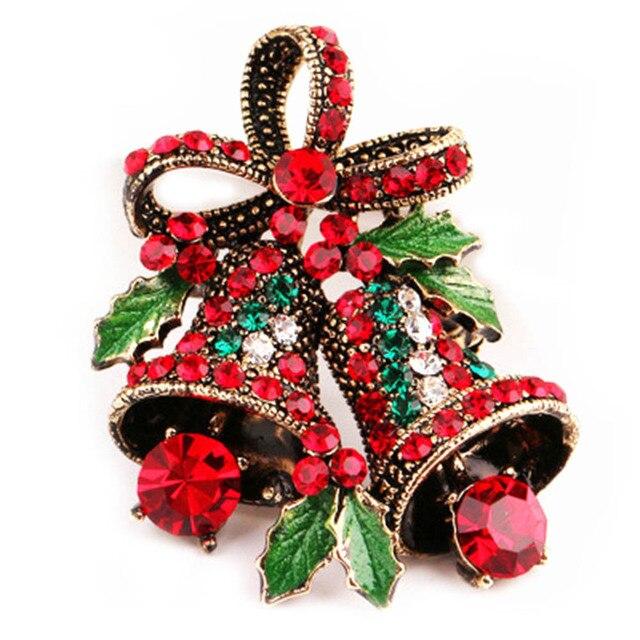 Креативный подарок бантом модные рождественские подарки булавки и броши для женщин маленький колокол брошь из горного хрусталя в виде сердца