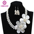 Charming White Freshwater Pearl Shell Flower Necklace Jewelry Set 925 Sterling Siler Clasp/Hooks Hot Sale Free Shipping FP018