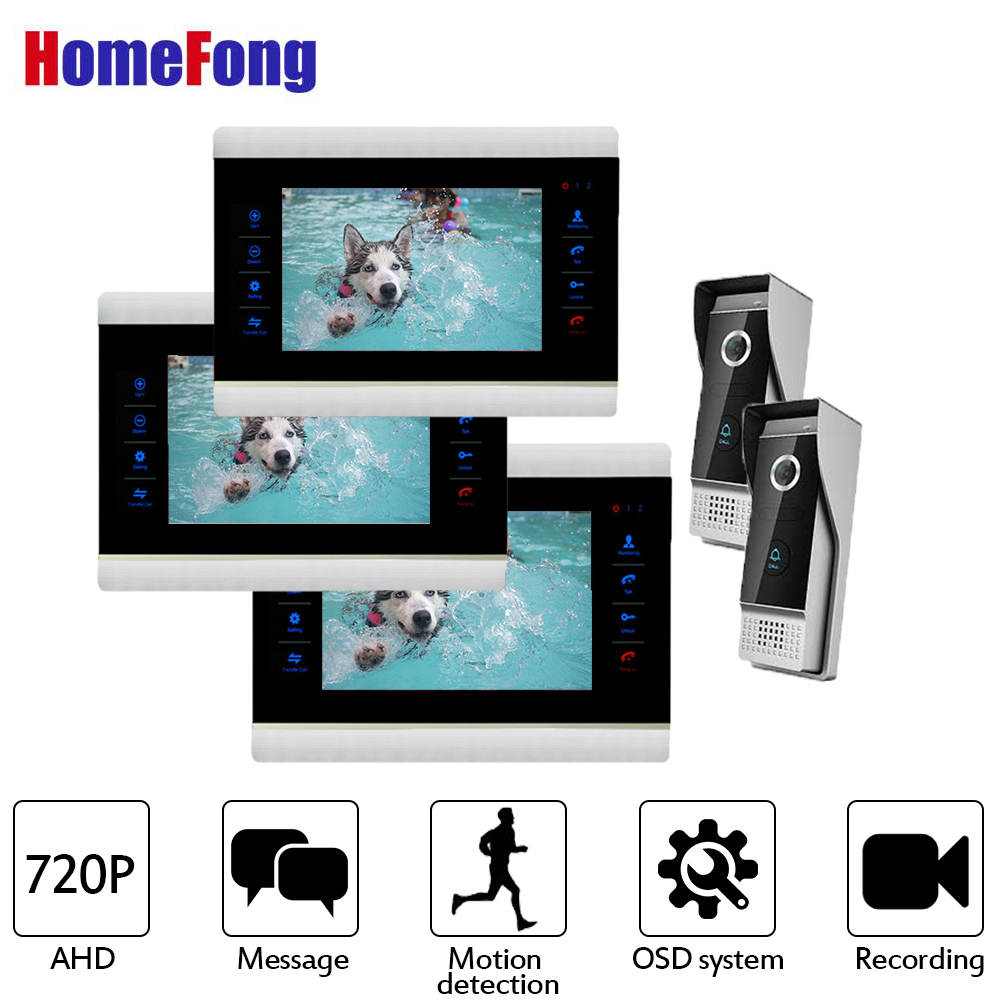 Homefong  7 Inch AHD Video Door Phone Intercom Doorbell Touch Button 3 Monitors And 2 Doorbell With Motion Dectection Function