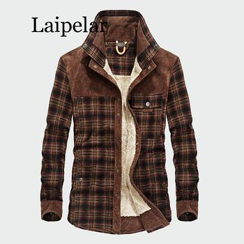 Laipelar Military Shirt Men Casual Shirts Winter Wool Fleece Thick Warm Male Plaid Corduroy Shirts Chemise homme