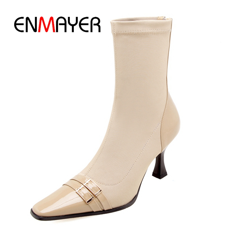 ENMAYER Women boots women pointed toe zipper ankle boots botas mujer buckle thin heel ankle boots Size 34-39 ZYL1079 rizabina women spike heel ankle boots woman pointed toe high heel ladies gladiator tassel ankle strap botas mujer size 34 47