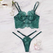 a3df81fa3e05 Heouty Green Floral Harness Appliques Lace Sexy Lingerie Set Women  Intimates 2019 Underwire Femme Underwear Ladies