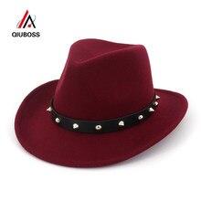 QIUBOSS los hombres Unisex de lana de las mujeres Sombreros de Panamá vaquero  occidental tapas rollo ala Sombrero de fieltro de . 4e6fbda06d1