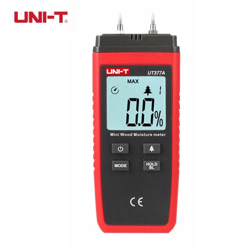UNI-T UT377A Numérique Bois Humidimètre Hygromètre Humidité Tester pour Papier Contreplaqué En Bois Matériaux LCD Rétro-Éclairage