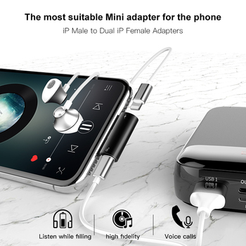Baseus Aux Audio Adapter for iPhone X 8 7 Plus Splitter 2 in 1 Earphone Headphone&Charge Cable for iPhone XR Xs Max USB Adapter 1