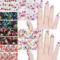 12 Unids/lote Nail Art Stickers Transferencia de Agua Pegatina, Flores, 12 colores, udoo001-012
