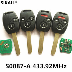 Remote Key for S0087-A 433MHz for Honda Accord Element CR-V HR-V Fit City Jazz Odyssey Shuttle Civic Car Keyless Control Fobik