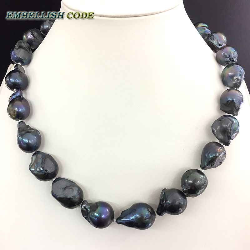NEW GOODS black few blue color baroque or Irregular pearl necklace tissue nucleated flame ball shape freshwater natural pearls недорого
