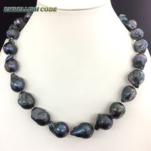 NEW GOODS black few blue color baroque or Irregular pearl necklace tissue nucleated flame ball shape freshwater natural pearls