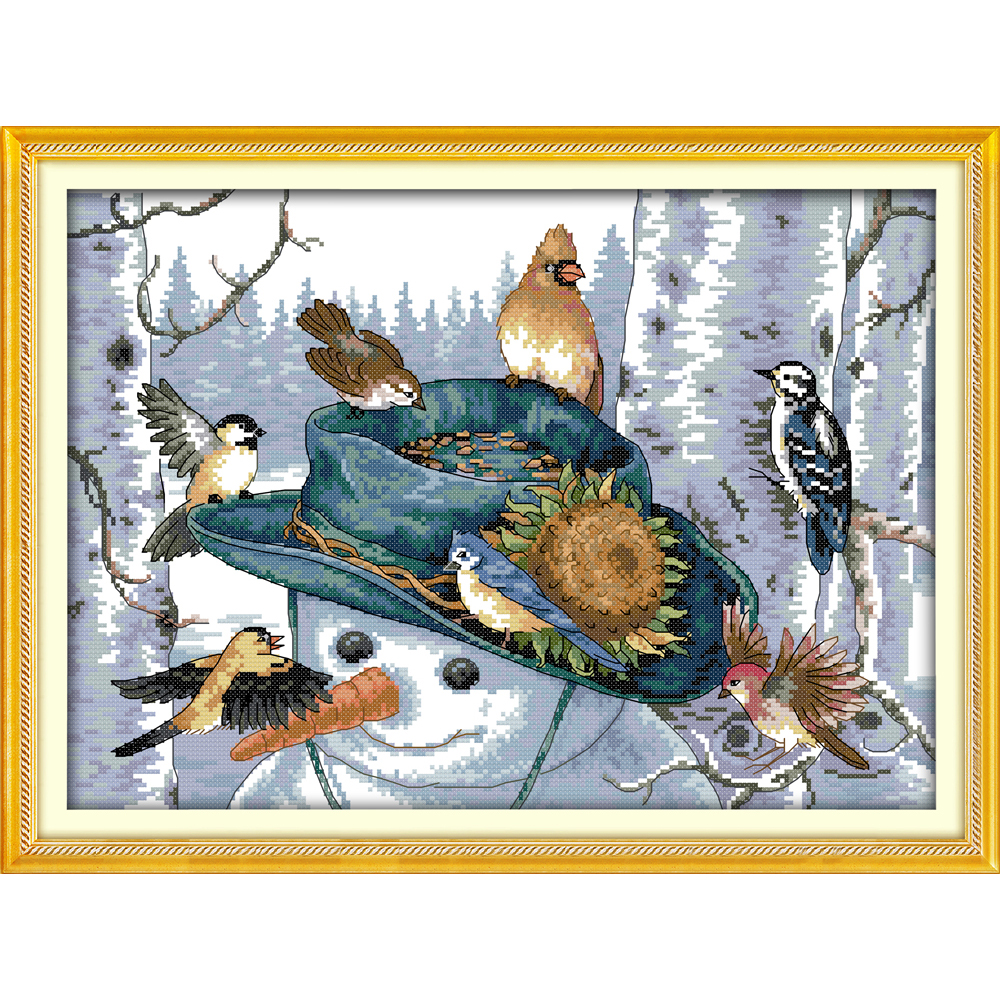 The long-beaked bird (2) Chinese cross stitch kits Ecological cotton stamped printed 11CT DIY gift wedding decoration for home