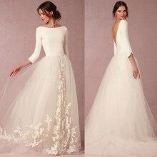 우아한 스판덱스 및 튈 Bateau 목 둘레 선 웨딩 드레스 와 레이스 아플리케 세 분 Sleeves Bridal Dresse
