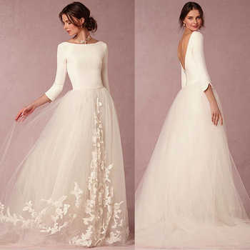 Elegant Spandex and Tulle Bateau Neckline A-line Wedding Dresses with Lace Appliques Three Quarter Sleeves Bridal Dresse - DISCOUNT ITEM  11% OFF All Category