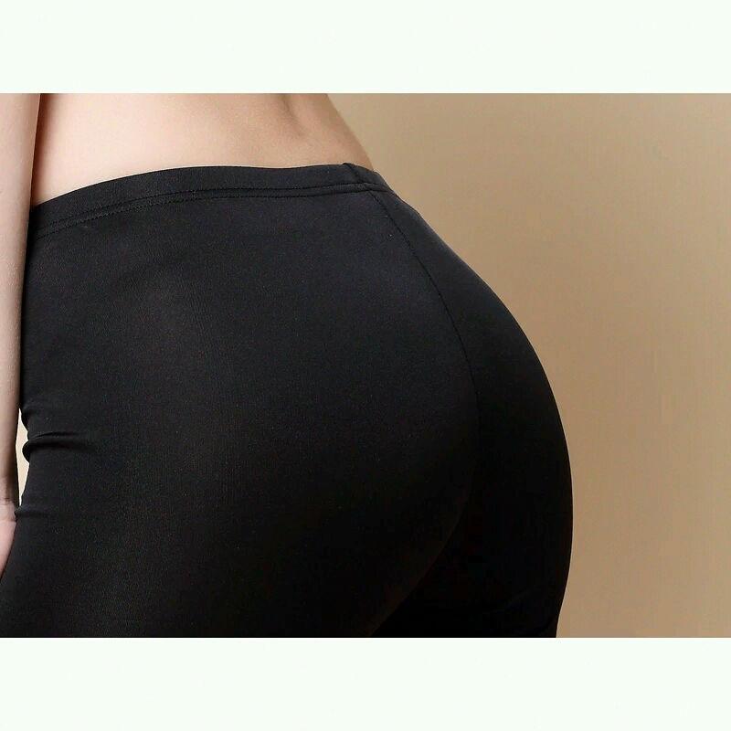 Kvinnor Leggings 100% Real Silk 3/4 längd byxor slim leggings Plus - Damkläder - Foto 3