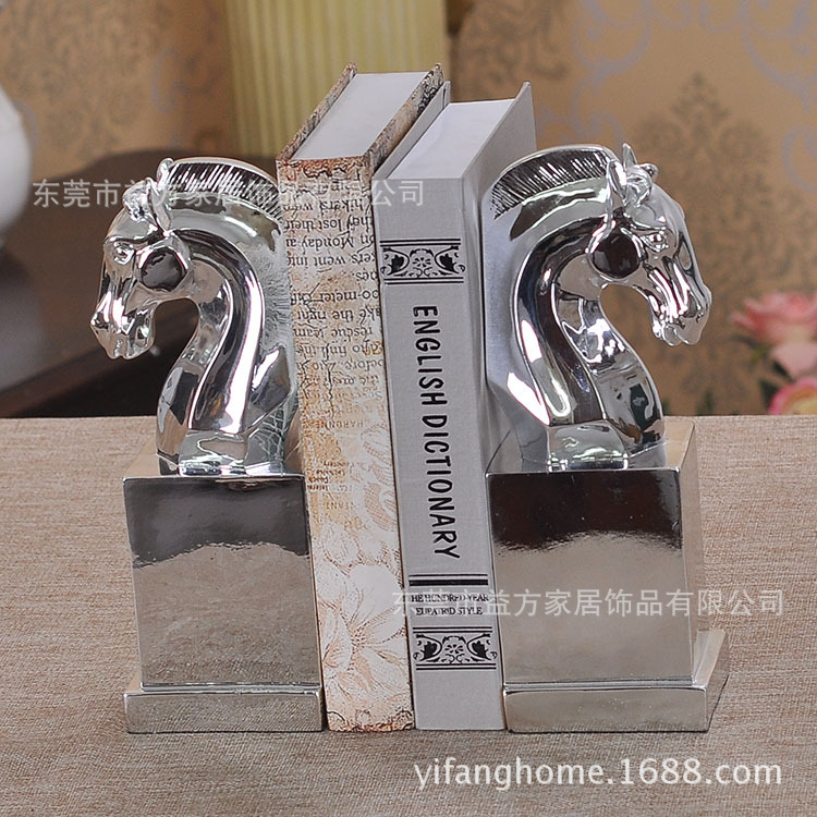 European creative ornaments gifts Resin crafts book by plating horse bookends books wholesale model room