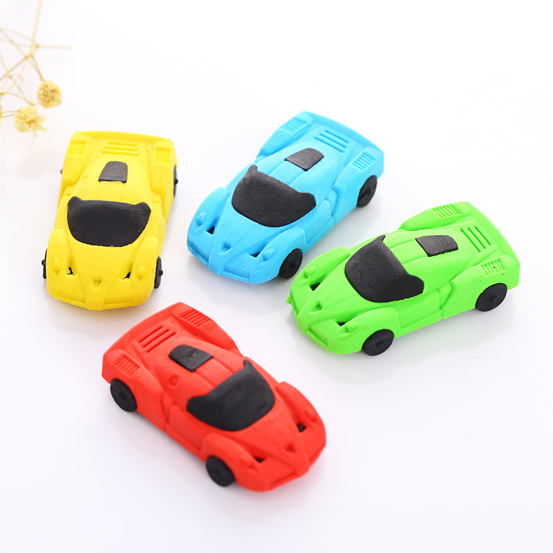 1 PCS Cute Cartoon Cars Sports Car Rubber Eraser Student Learning Stationery For Kids Gift School Supplies