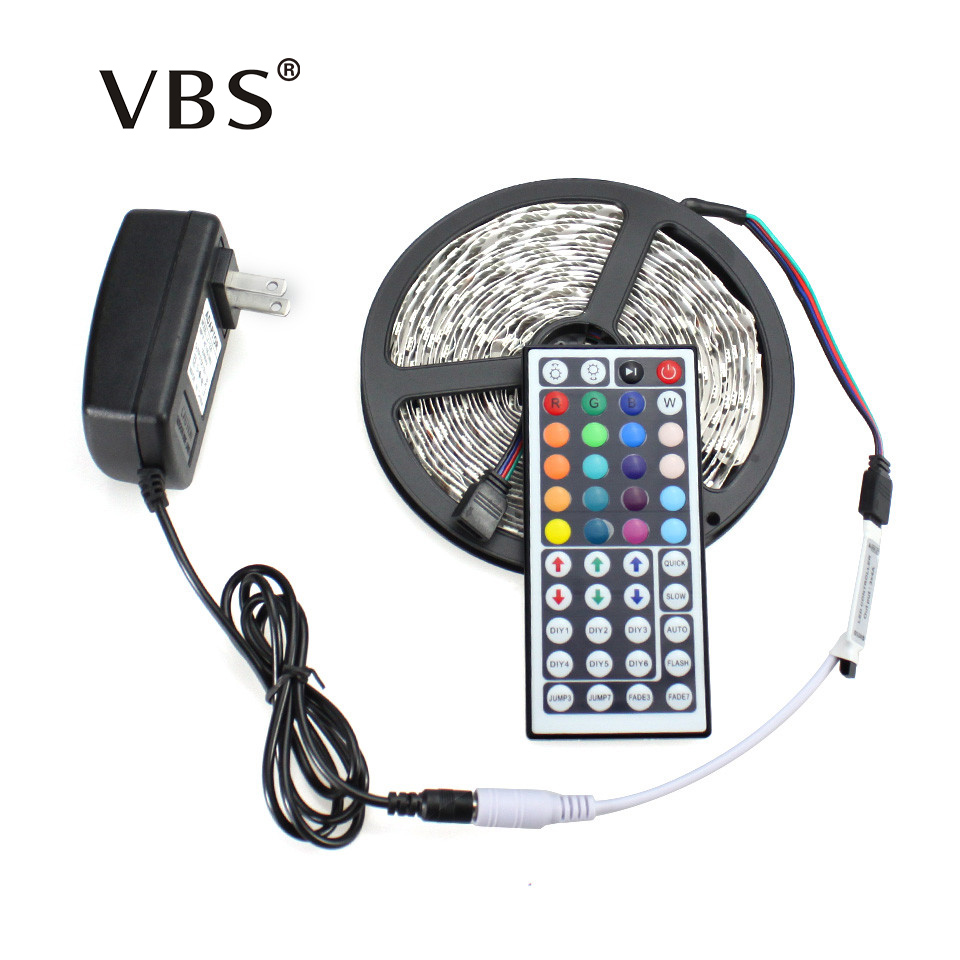 RGB LED Strip Light 5050 5M 300Led SMD RGB 60LED/M Lamps DC12V Flexible Light + 44key IR Remoter + 3A Power Lighting 5M/Roll