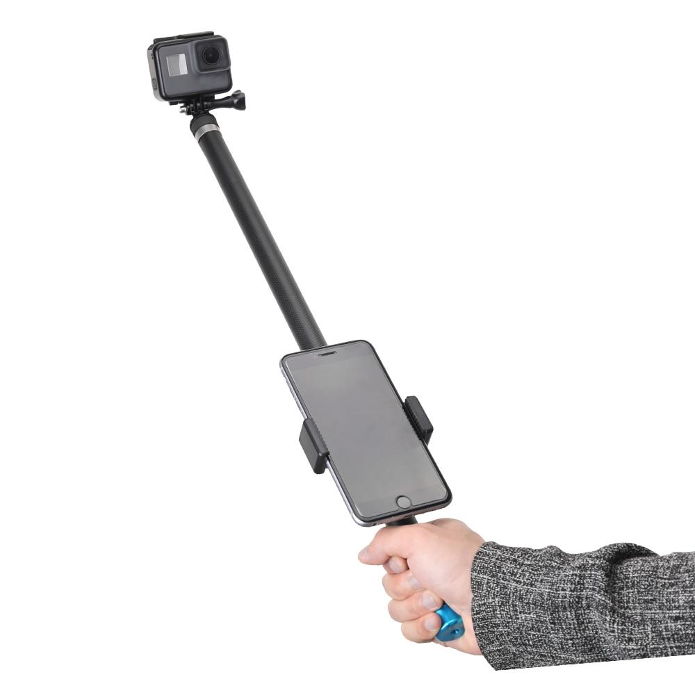 TELESIN 106 Long Handheld Extendable Selfie Stick Pole Phone Clip for GoPro Hero 7 6 5 4 3 for Xiaomi YI for SJCAM for Eken telesin 106 long carbon fiber selfie stick for gopro hero 6 5 4 3 session xiaomi yi 4k sjcam eken extendable handheld monopod