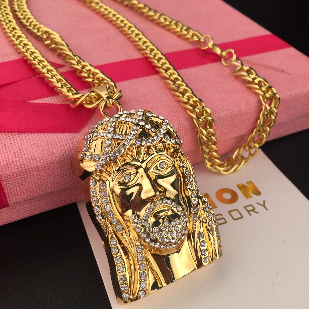 Mcsays hip hop jewelry golden iced out bling jesus head for Bling jewelry coupon code