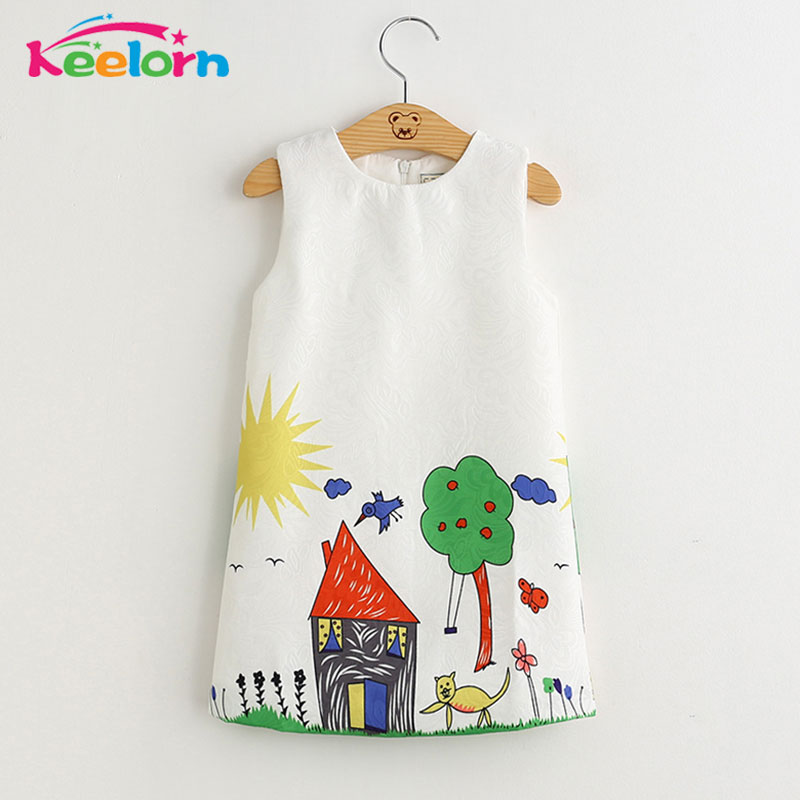 Keelorn Girls Dresses 2017 Brand Princess Dress Kids Clothes Graffiti Print Design Kids Dresses for Girls 3-8Y Clothes welly welly набор служба спасения скорая помощь 4 штуки