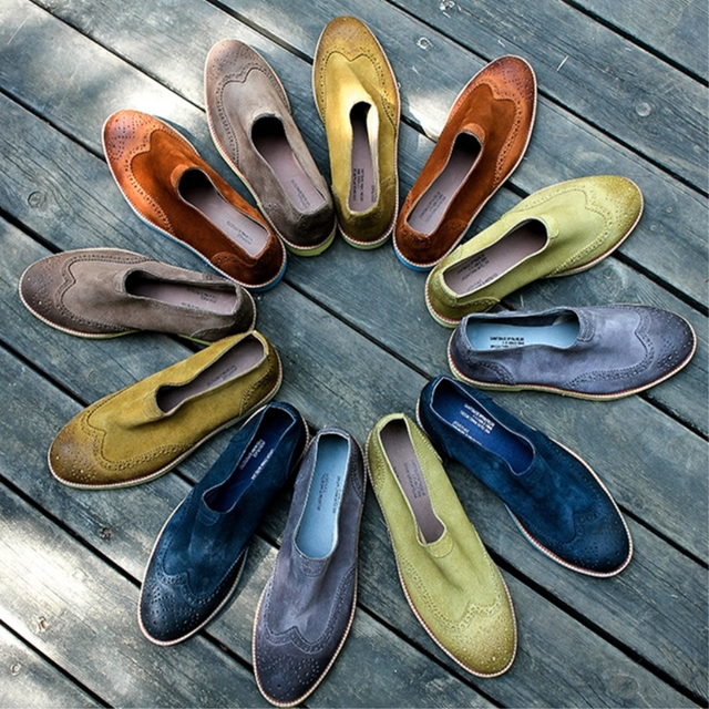 559a7223b64b A variety of colors Genuine leather Men shoes Summer low heels Brogue shoe  for boys School Loafers for party Men Casual flats