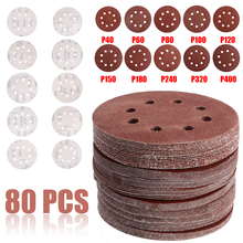80pcs 125mm Sanding Disc 5Inch 40-400 Mix Orbital Sander Hook Loop Sandpaper Accessories Abrasive Tools