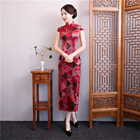 Red Sexy Vintage Chinese Style Evening Dress Women High Quality Silk Slim Long Qipao Novelty Geometric Ankle Length Cheongsam