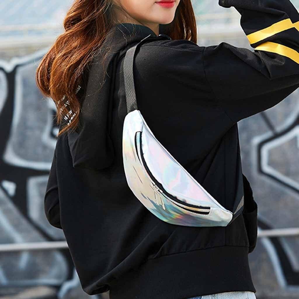 2019 Holographic Women Fanny Pack Belt Bag Shiny Neon Laser Hologram Waist Bags Travel Shoulder Bag Party Rave Hip Bum Bag #3