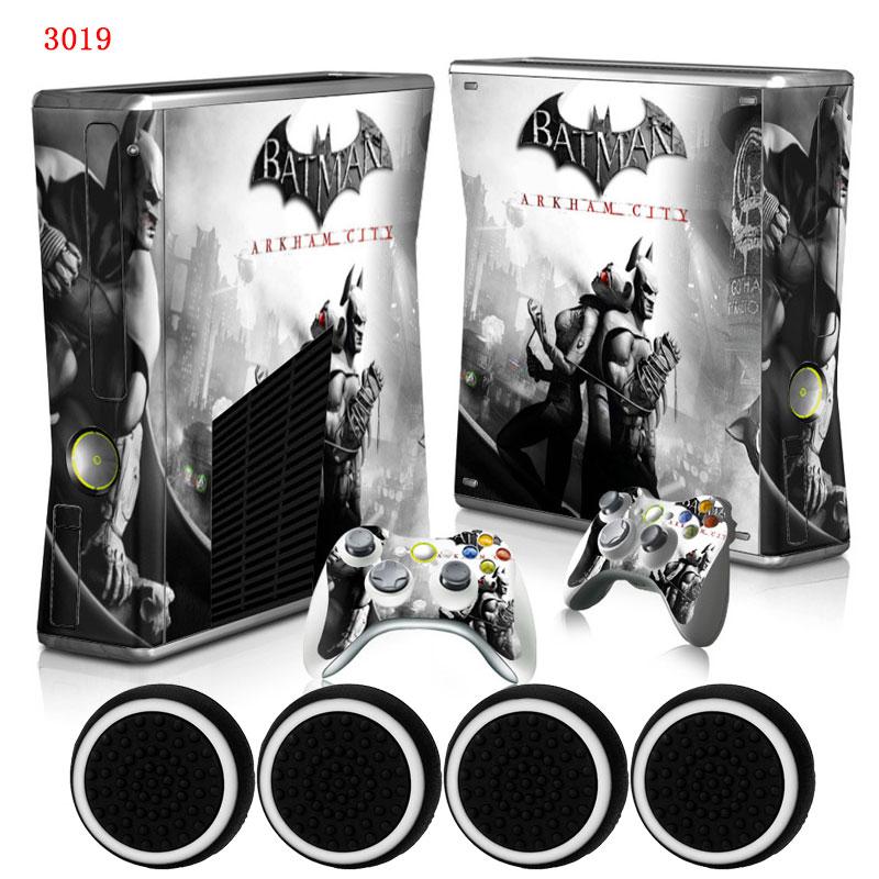 Batman Hero Custom Skin Host Vinyl Protective Case Sticker & 2 Gamepad Decals +4x Caps for Xbox 360 Slim Console