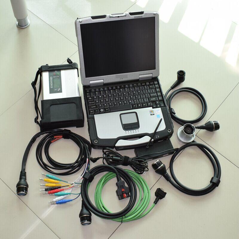 Meilleure qualité mb star c5 sd se connecter avec 2019.7 logiciel 320 gb hdd super vitesse avec un ordinateur portable hardbook CF30 expédition rapide