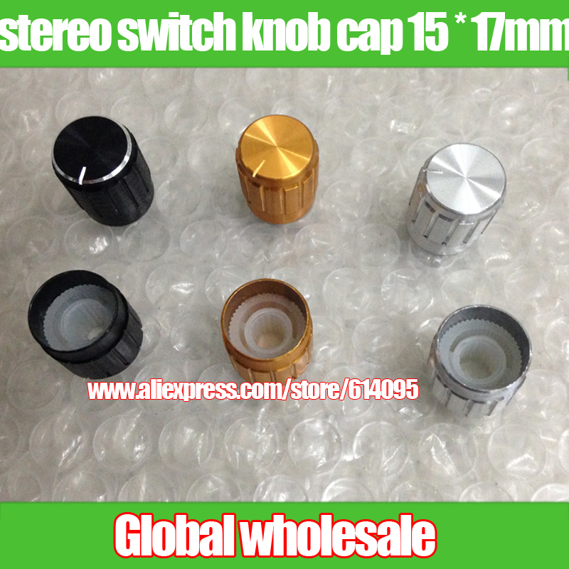 Confident 100pcs Aluminum Metal Potentiometer Knob Inner Pore 6mm White Gold Black Stereo Switch Knob Cap 15 17mm