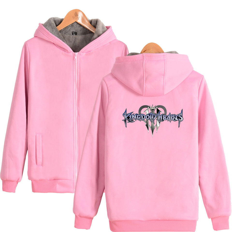 Kingdom heart new zipper thick sweatshirt pattern printing casual hoodie thick double zipper fashion unisex hooded