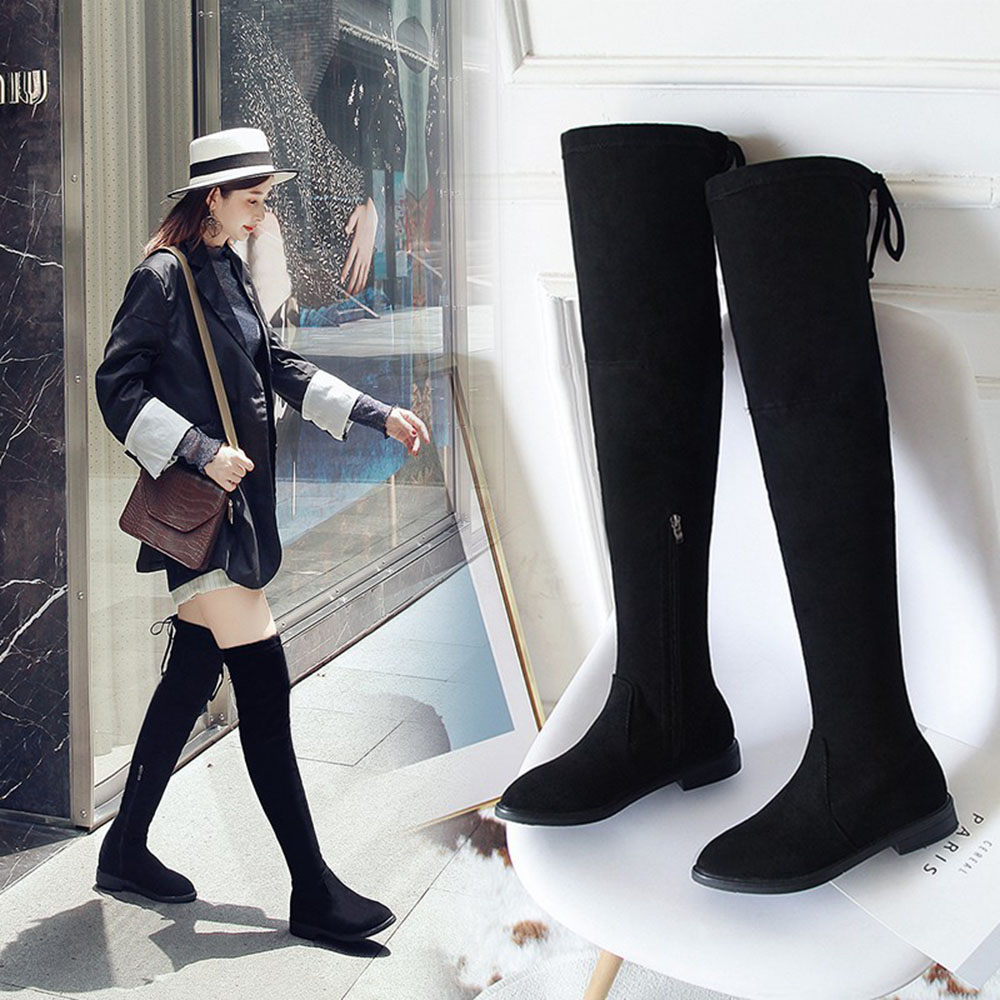 Winter Boots Women Ladies Shoes Low Heel Women Over The Knee Boots Scrub Black Pointed Toe Woman Motorcycle Boots Size 35-39