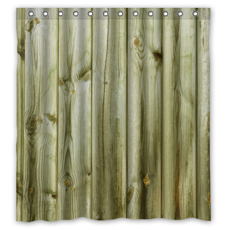 Natural Wood Custom Made Shower Curtain Bathroom Waterproof Curtains Sets  48x72,60x72,66x72 Inches