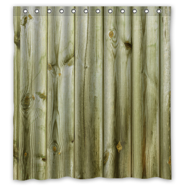Natural Wood Custom Made Shower Curtain Bathroom Waterproof Curtains Sets 48x7260x7266x72 Inches
