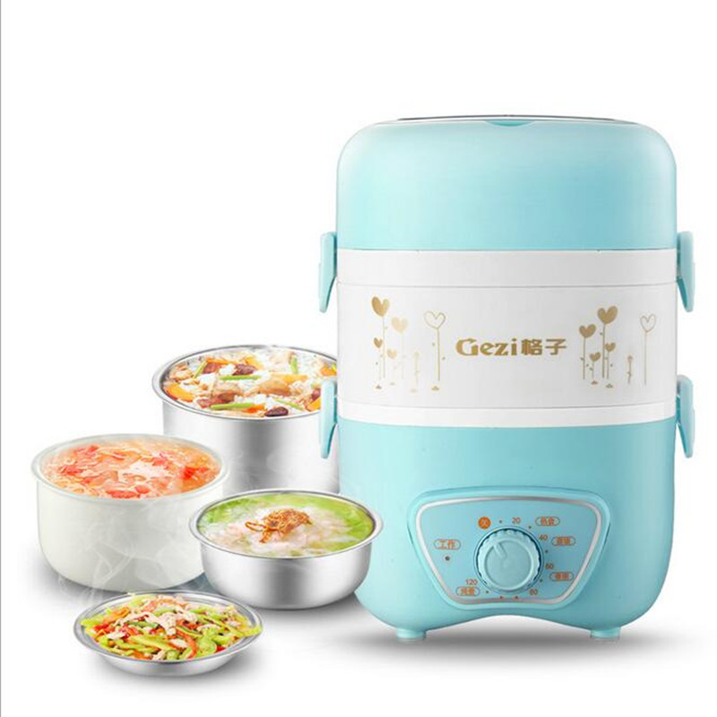 220V Mini Electric Rice Cooker Electric Stew Cup Slow Cooker 120 Minutes Timer Anti Dry With 4 Stainless Steel Inners egg shaped stainless steel mechanical twist timer 60 minutes