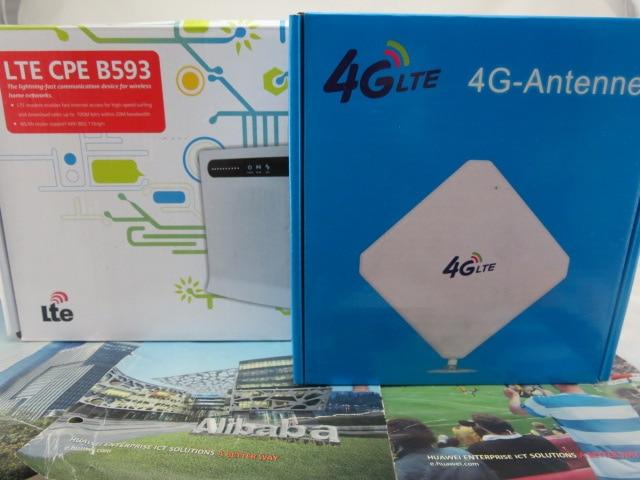 SET ofUnlocked Huawei B593s-22 150M 4G LTE FDD TDD WLAN CPE Wireless Router & Dual 35dBi Antenna 3G & 4G