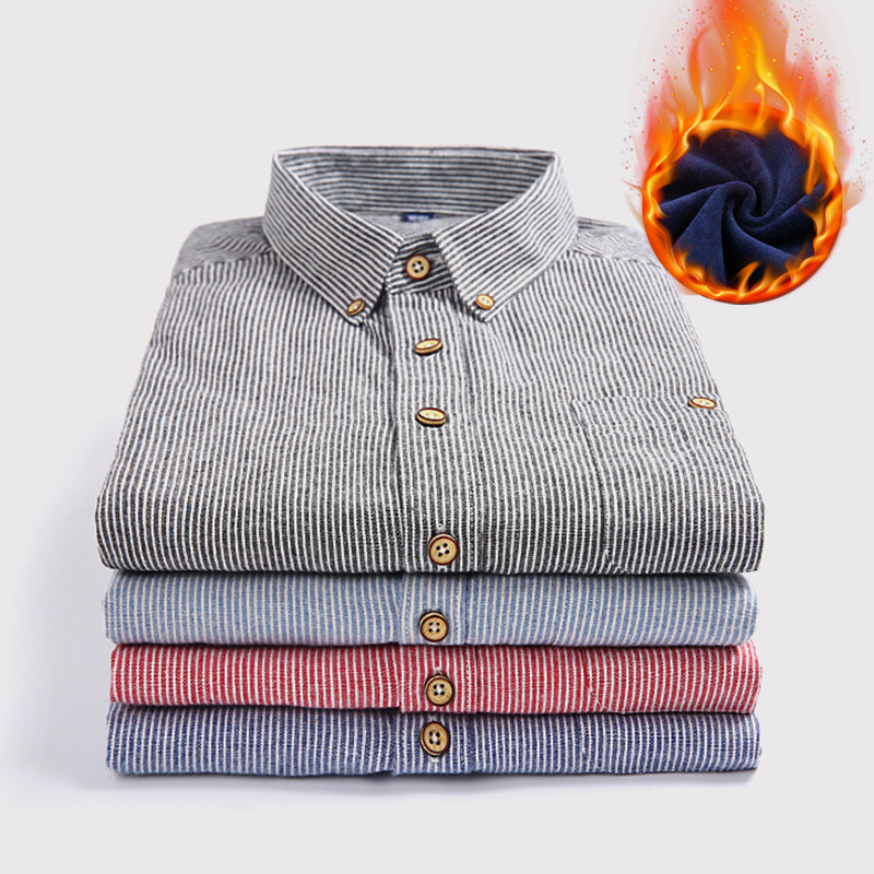 2018 new add hair thickening male warm shirt Fashionable striped shirt Wash and wear