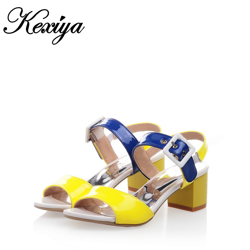 Hot sale ! Big Size 31-43 Fashion sweet style women shoes Mixed Colors buckles Candy color high heel Sandals HXZ-X-15 hot sale big size 31 43 fashion women shoes solid pu leather sweet bowknot decoration high heels small size 31 32 33 chd d21